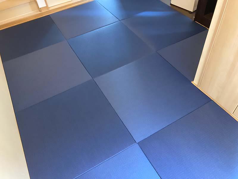 ダイケン国産和紙ヘリ無し半畳カラー 清流藍色